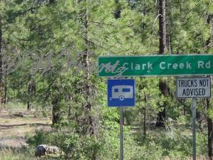 Clark Creek Road Sign off 89