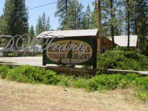 Sign for Burney Falls Trailer Resort